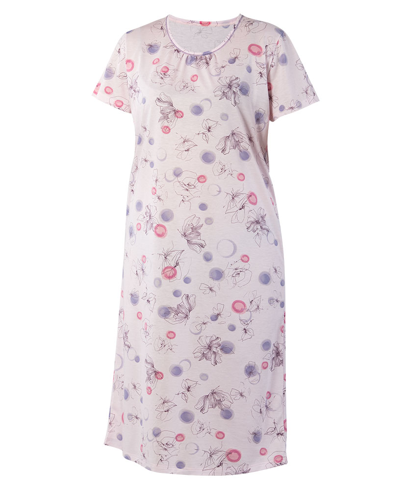 Dámská noční košile Líba K - růžový tisk