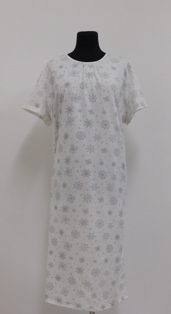 Dámská noční košile Líba K - šedý tisk na béžové