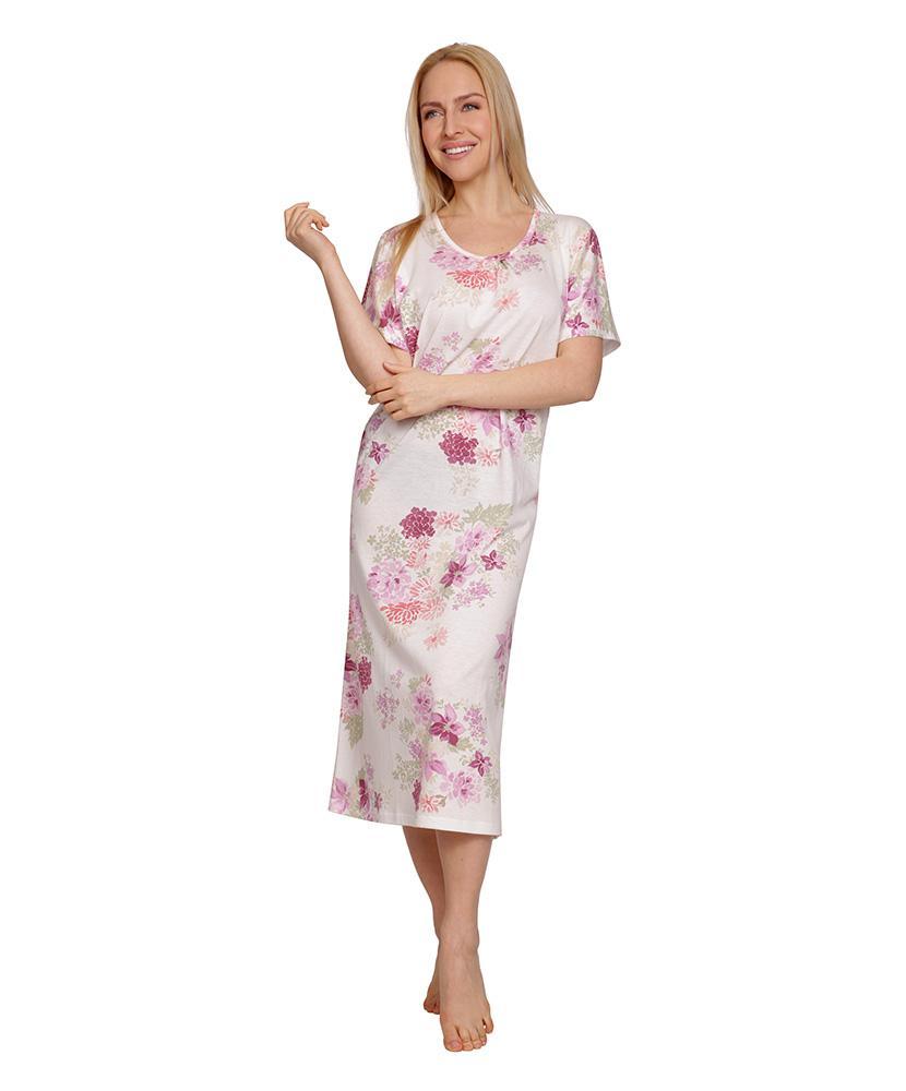 Dámská noční košile Líba K - barevná chryzantéma