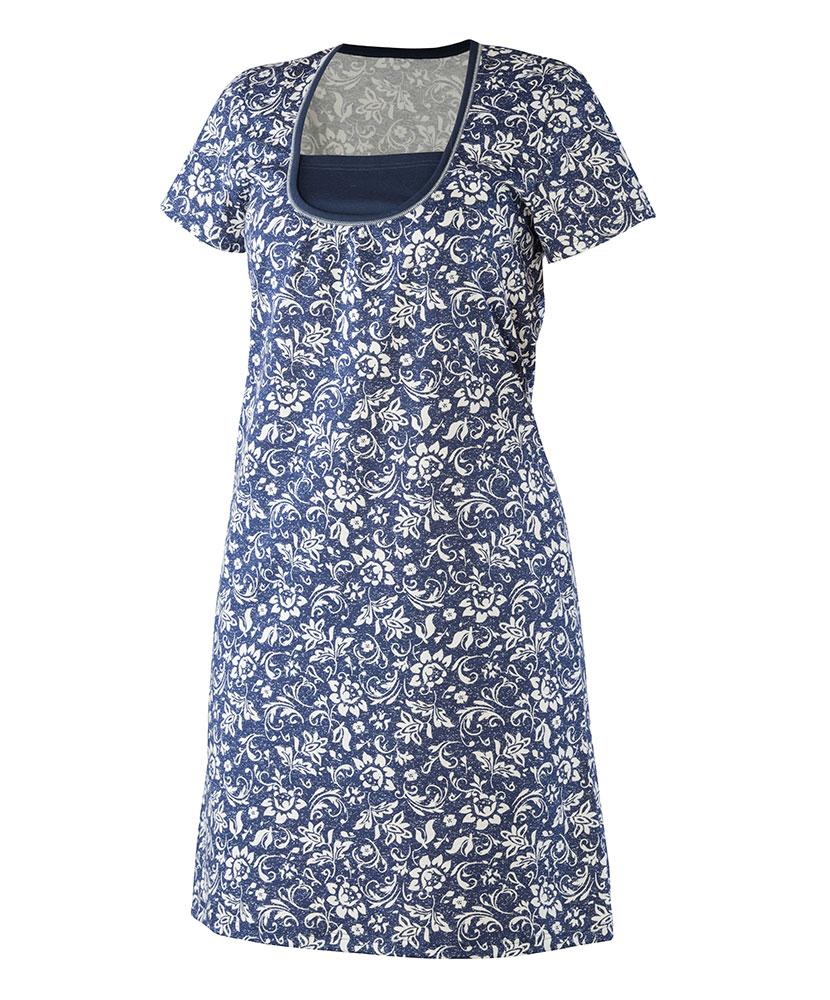 Dámská noční košile Pavla K - tmavě modrý květ