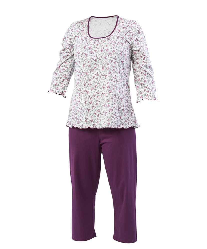 Dámské pyžamo Danuše - fialovočerný  květ