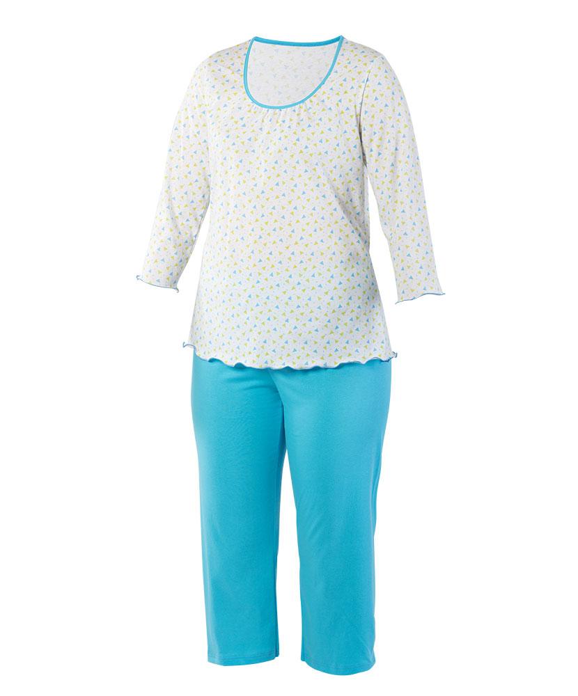 Dámské pyžamo Danuše - modrozelený trojúhelník