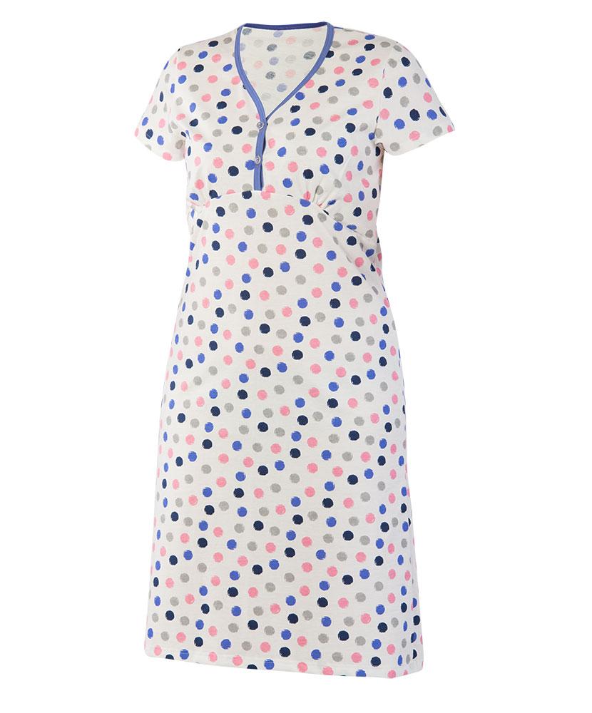 Dámská noční košile Nikolka K - modrý puntík