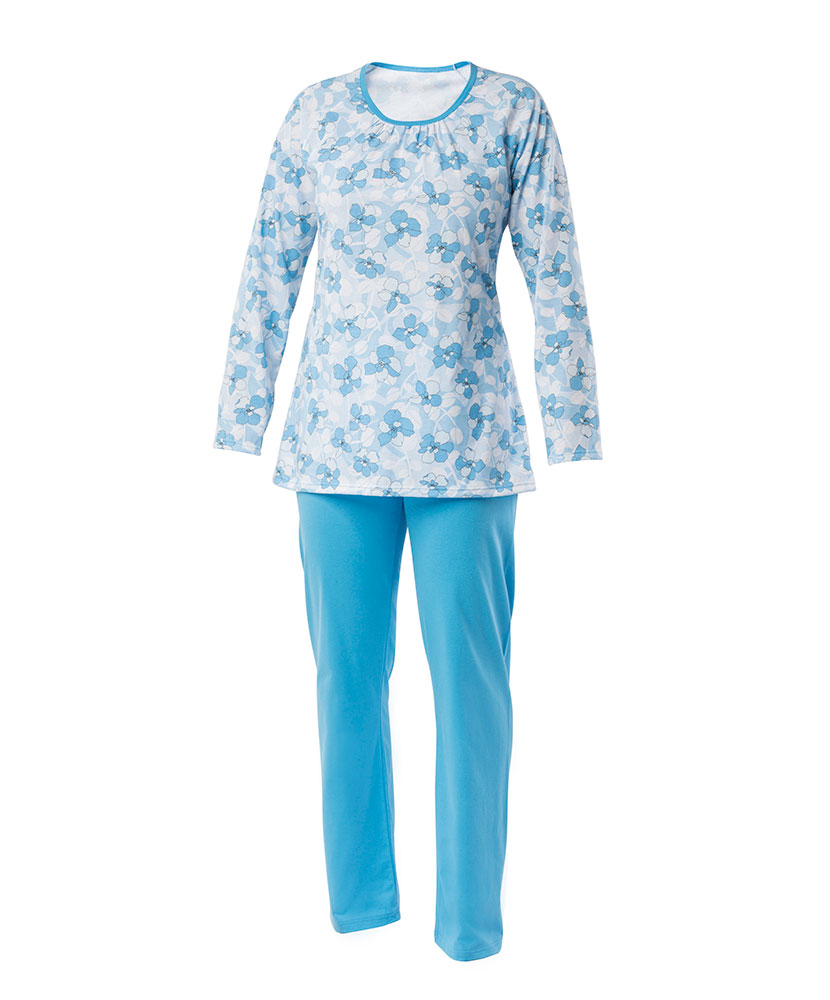 Dámské pyžamo Libuše D - modrobílý tisk