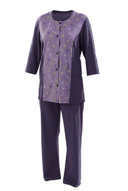 Dámský domácí oblek Sára - fialovo-zelený tisk