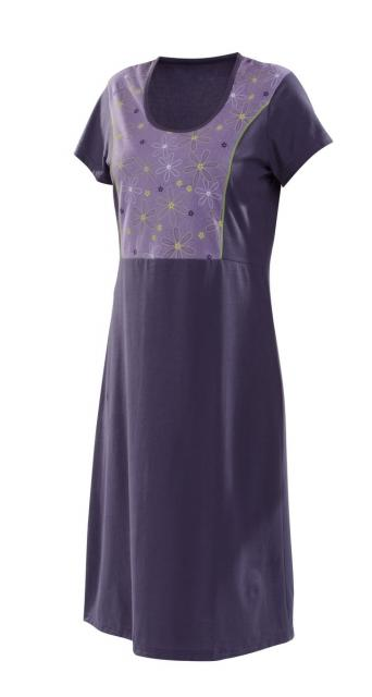 Dámské šaty Berta D - fialovo-zelený tisk