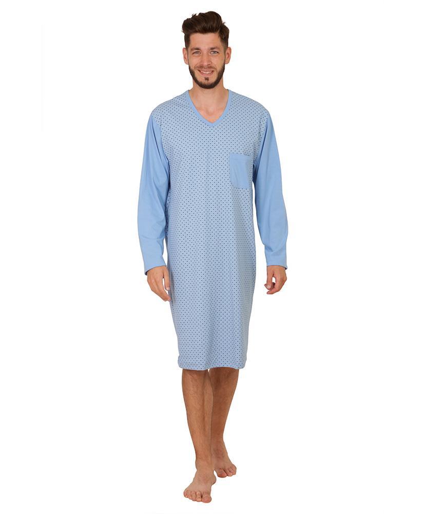 Pánská noční košile David - vzor na modré