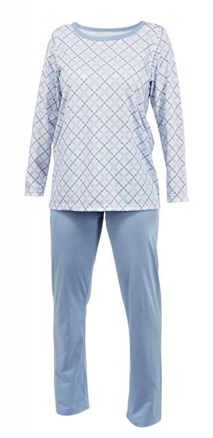 Dámské pyžamo Klárka - světle modrá kostka