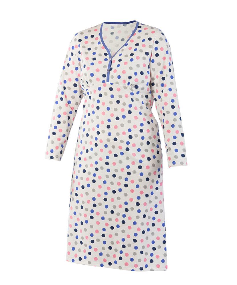Dámská noční košile Nikolka D - modrý puntík