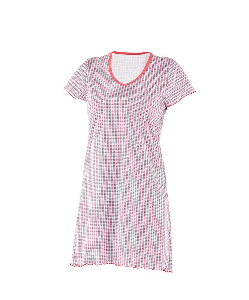 Dámská noční košile Klára - červenomodrá kostička