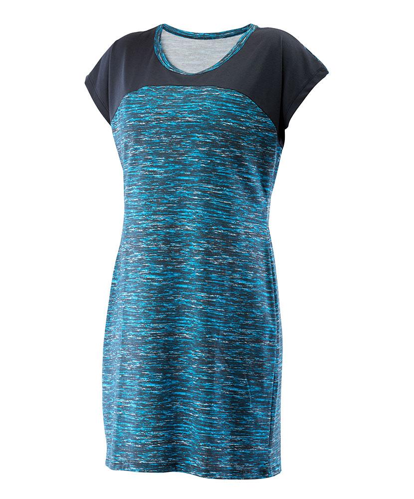 Dámské šaty Ina - tyrkysový tisk + šedá