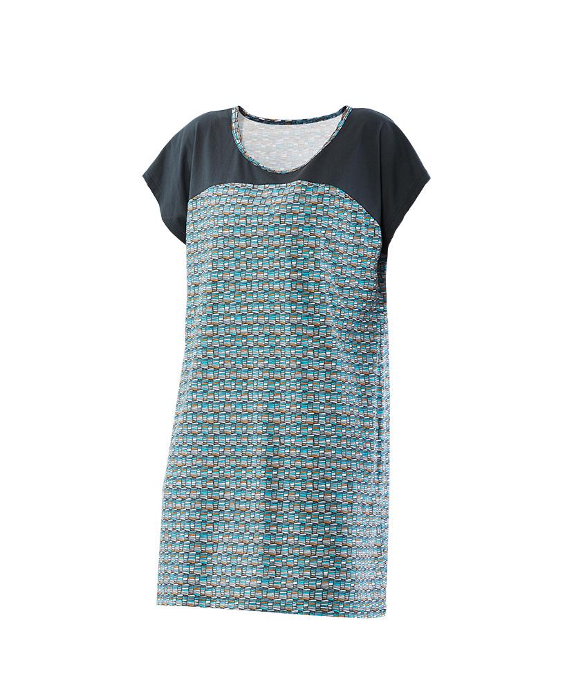 Dámské šaty Ina - šedotyrkysový tisk