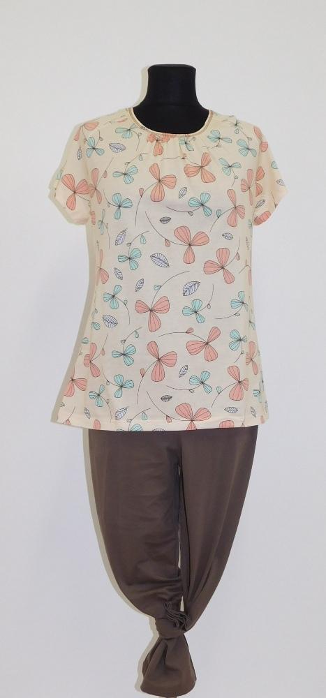 Dámské pyžamo Libuše K - meruňkový tisk