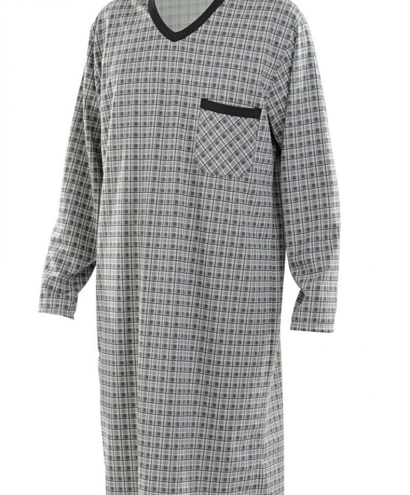 Pánská noční košile Karel D - černozelená kostka