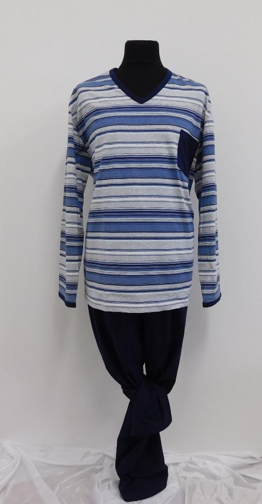 Pánské pyžamo Tomáš - modrošedý proužek