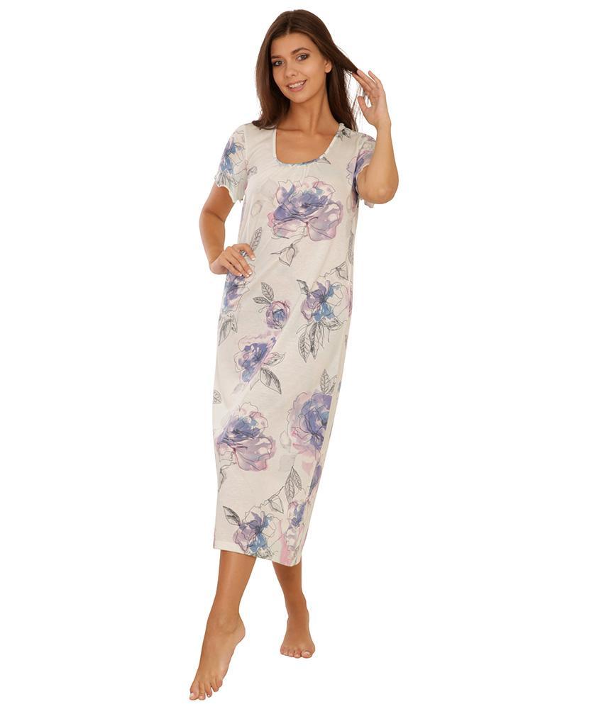 Dámská noční košile Danča - modrofialový květ
