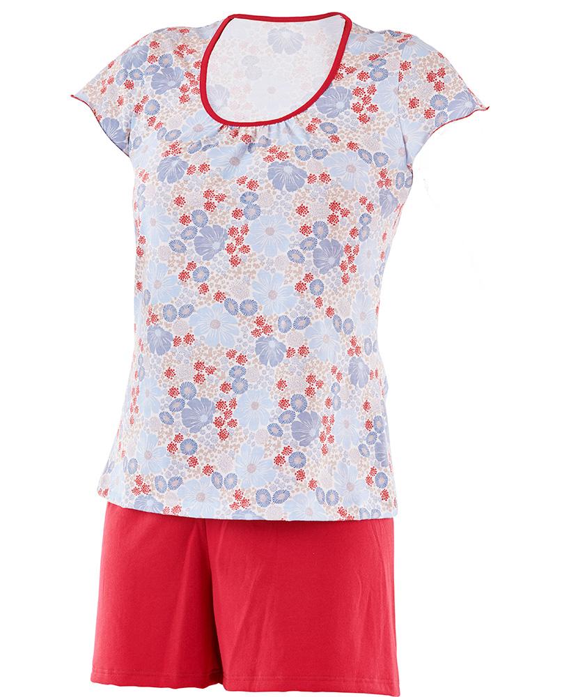 Dámské pyžamo Marika - červenomodrý květ