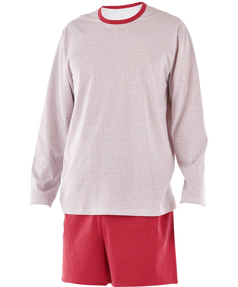 Pánské pyžamo Matěj - drobný trojúhelník červený