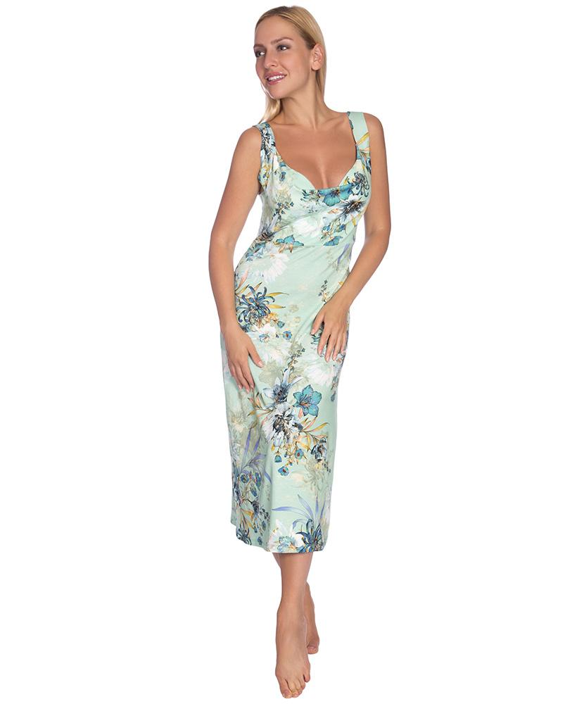 Dámské šaty Katarína - květ na zelené