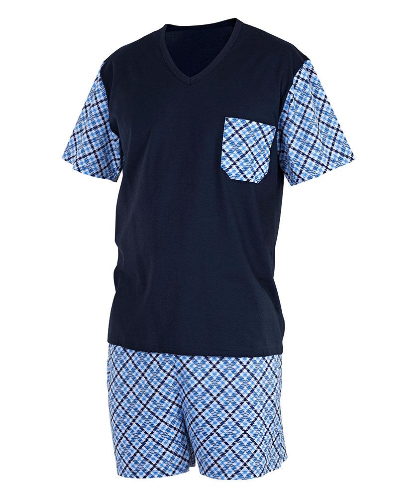 Pánské pyžamo Jan - tmavě modrý tisk