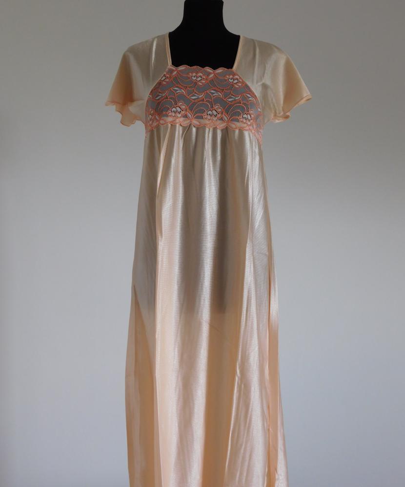 Dámská noční košile Rút D - meruňka-dvoubarevná krajka