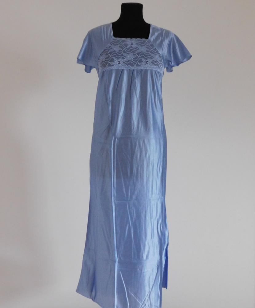 Dámská noční košile Rút D - šedomodrá-jednobarevná krajka