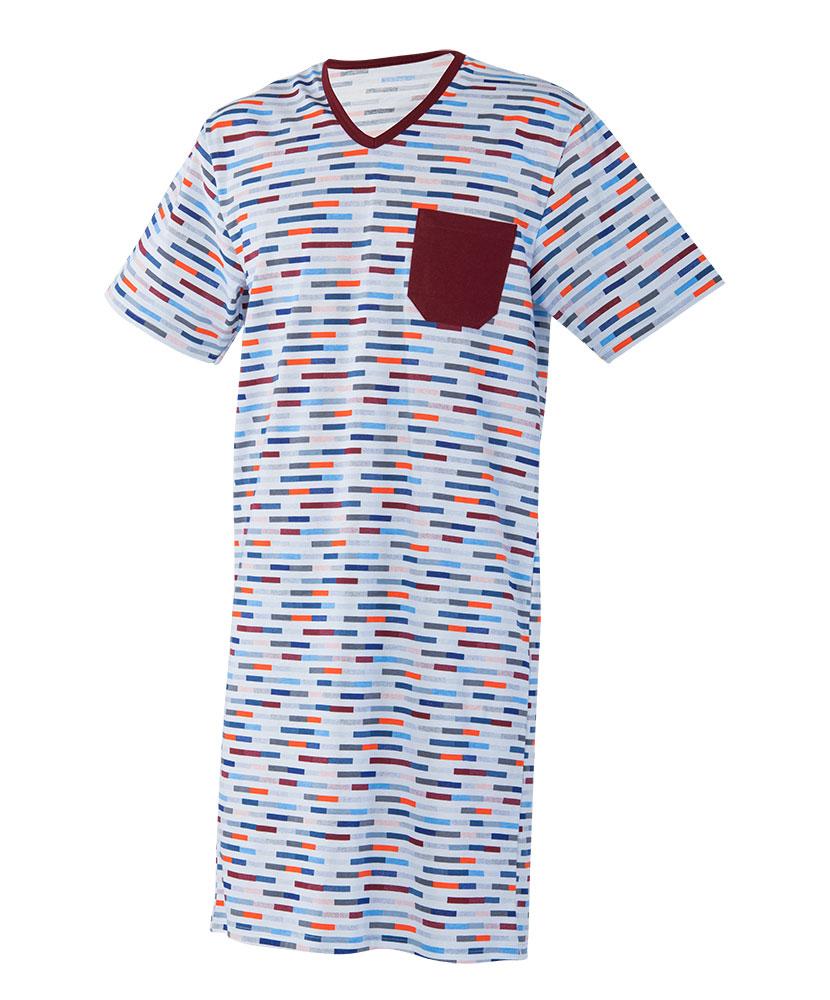 Pánská noční košile krátký rukáv Karel - barevný proužek