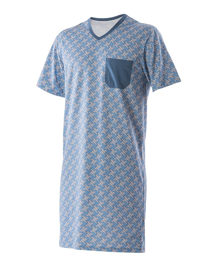 Pánská noční košile Karel - modrošedá mozaika
