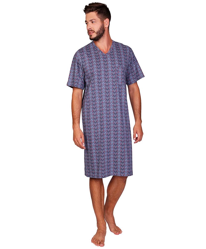 Pánská noční košile Karel - kostka na šedé