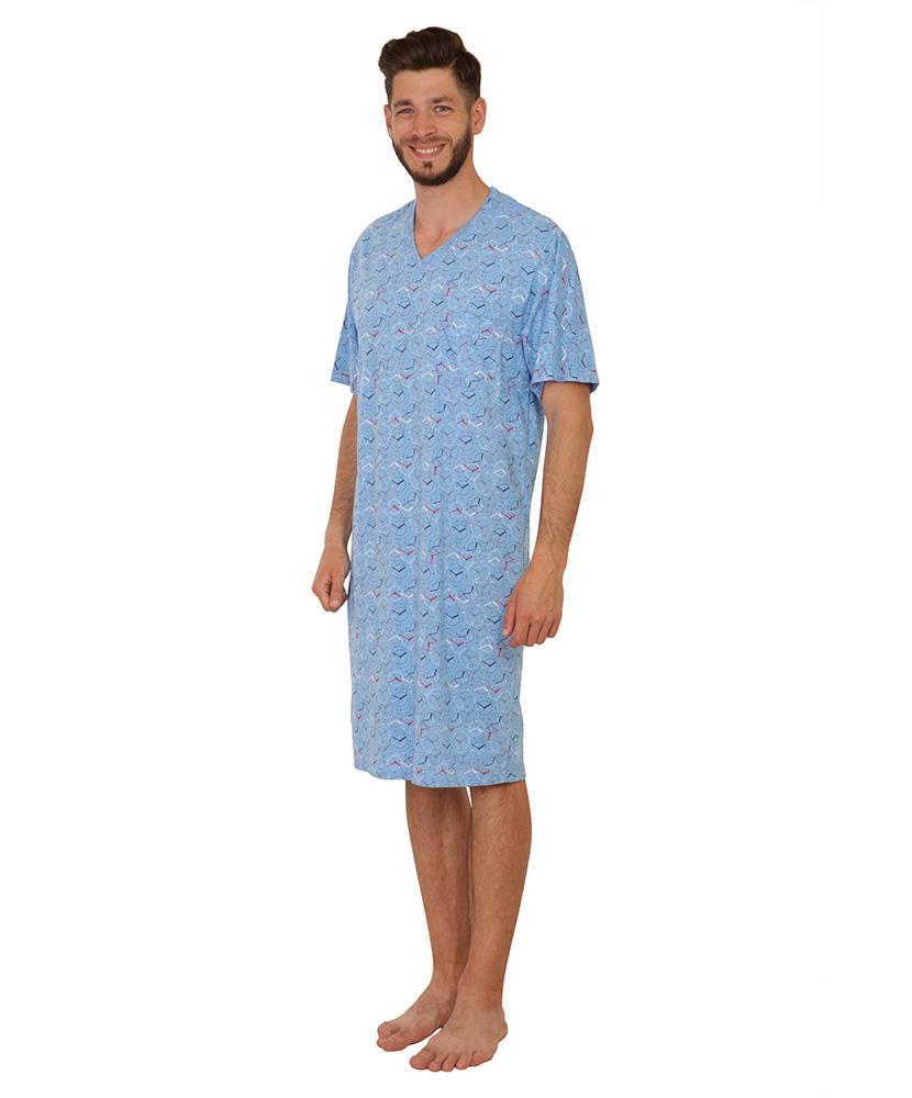 Pánská noční košile krátký rukáv Karel - světle modrý budík