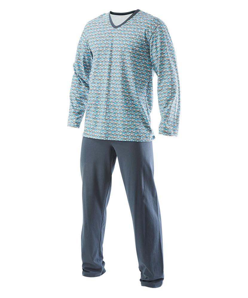 Pánské pyžamo dlouhé Emil - šedotyrkysový tisk
