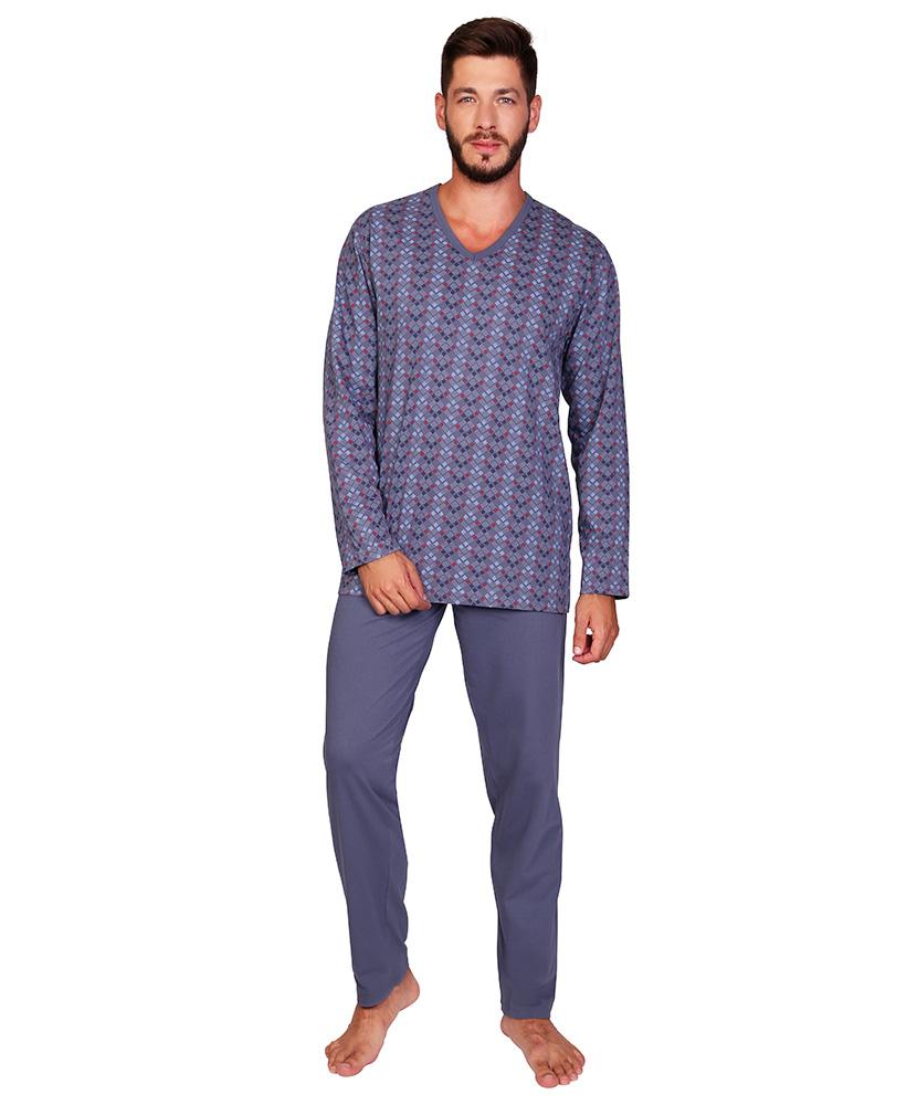 Pánské pyžamo dlouhé Emil - kostka na šedé