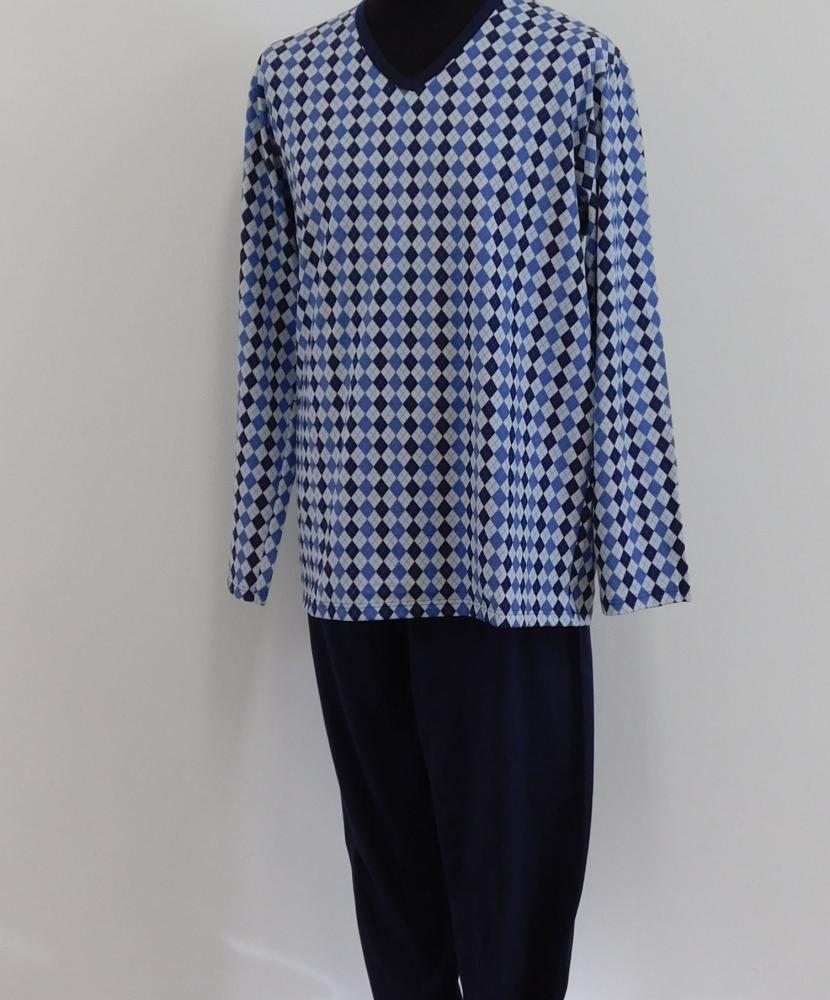Pánské pyžamo dlouhé Emil - modrý kosočtverec