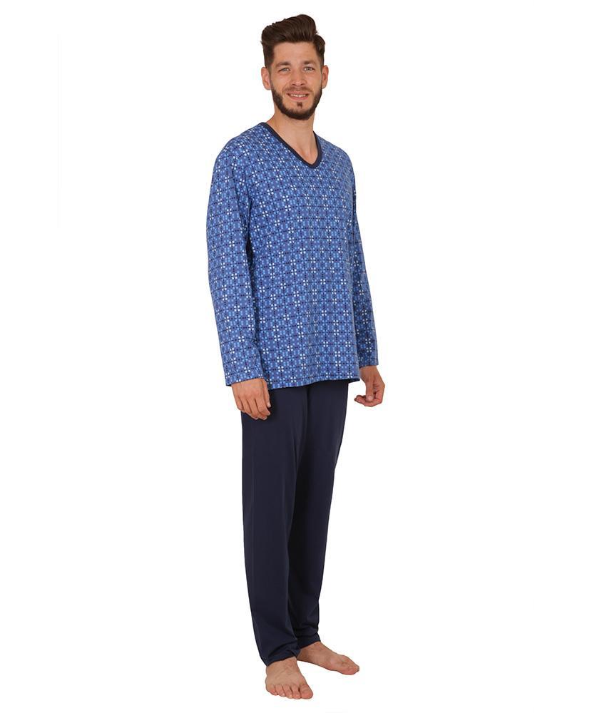 Pánské pyžamo dlouhé Emil - kostky na modré