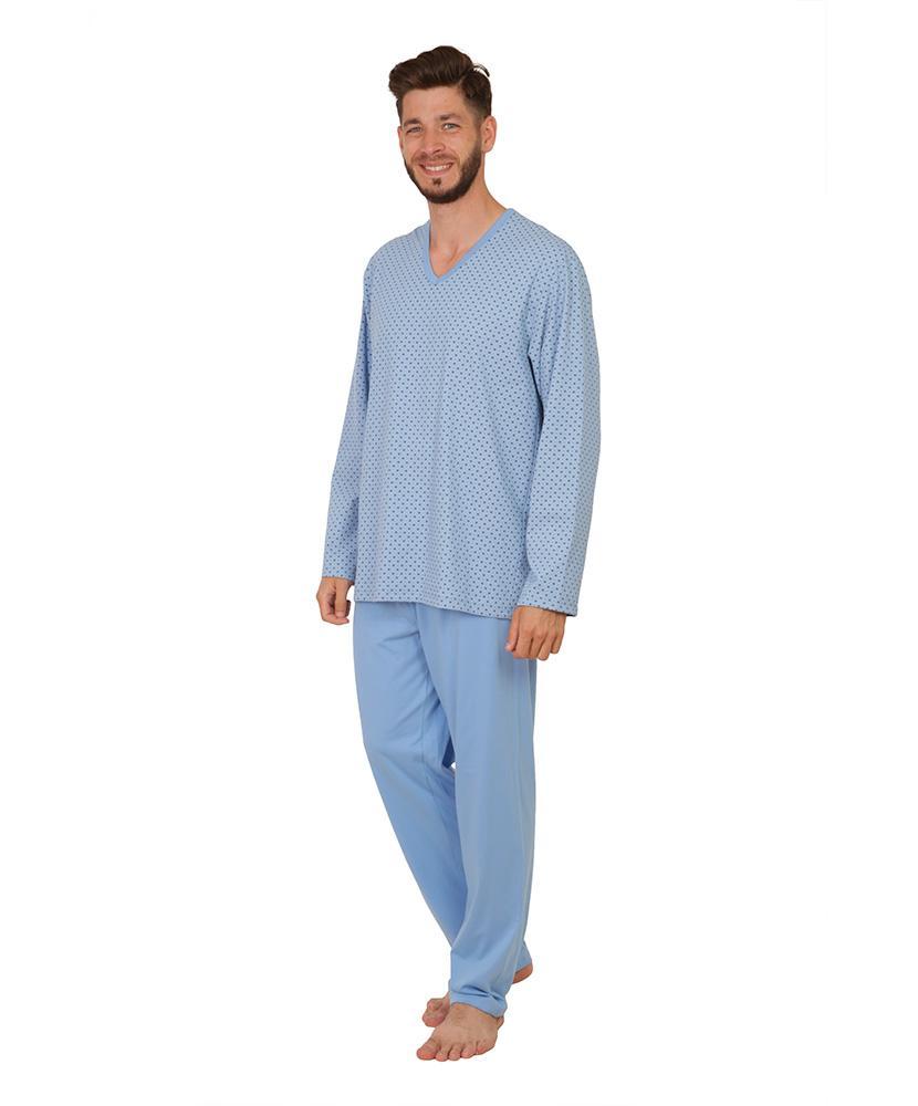 Pánské pyžamo dlouhé Emil - vzor na modré