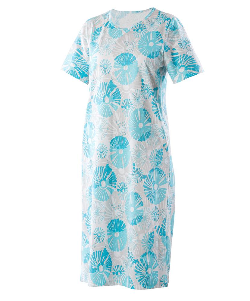 Dámská noční košile Iva - tyrkysový tisk na šedé