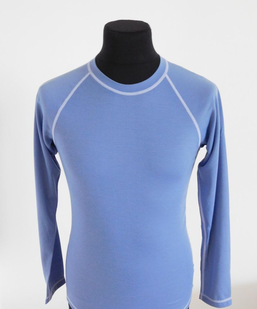 Pánské tričko dlouhý rukáv Coolbest - šedomodrá