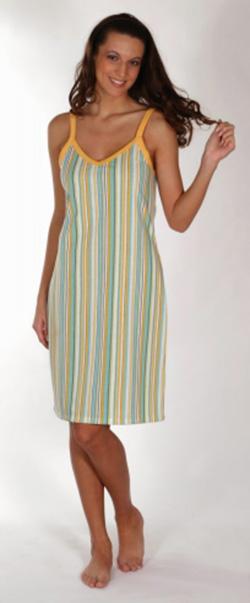 Dámské šaty Mahulena - modrožlutý proužek