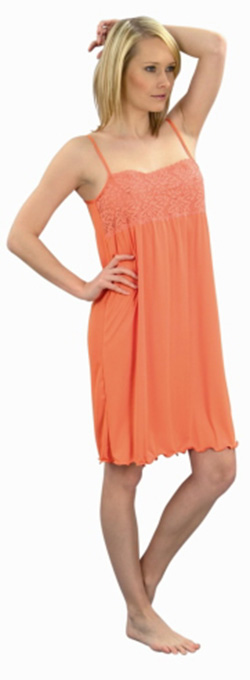 Dámská noční košile Lucka - oranžová-jednobarevná krajka