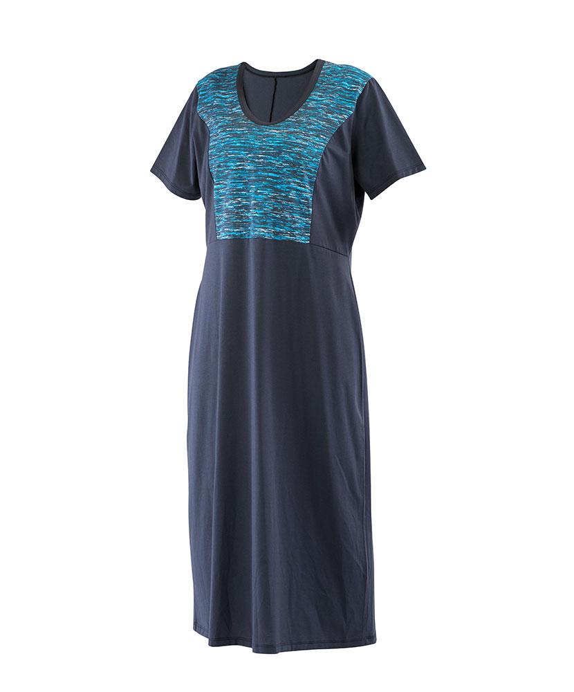 Dámské šaty Aneta - tyrkysový tisk + šedá