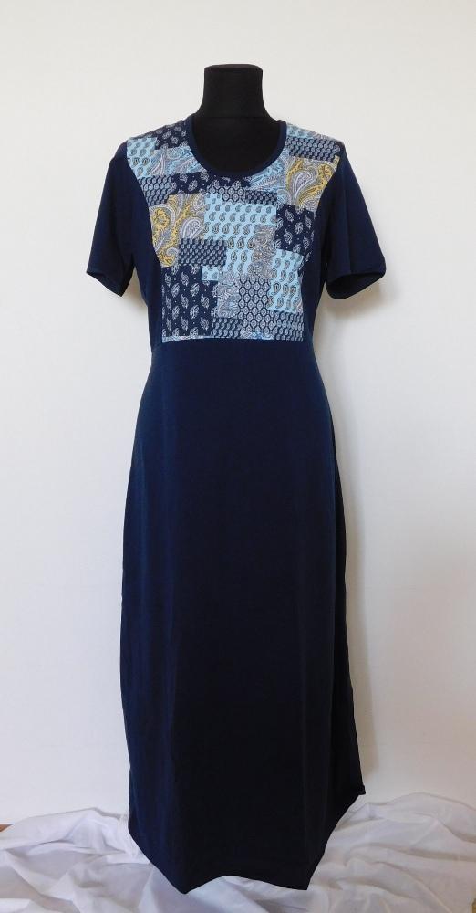 Dámské šaty Aneta - tmavě modrý dekor