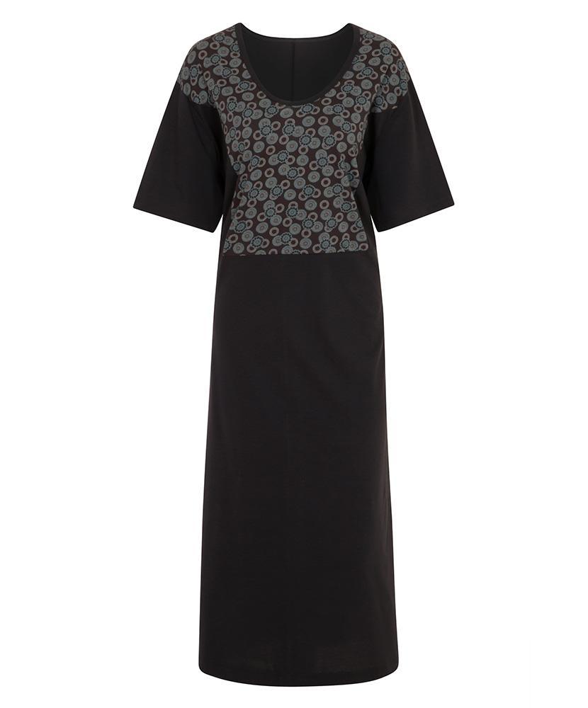 Dámské šaty Aneta - tyrkysový tisk na šedé
