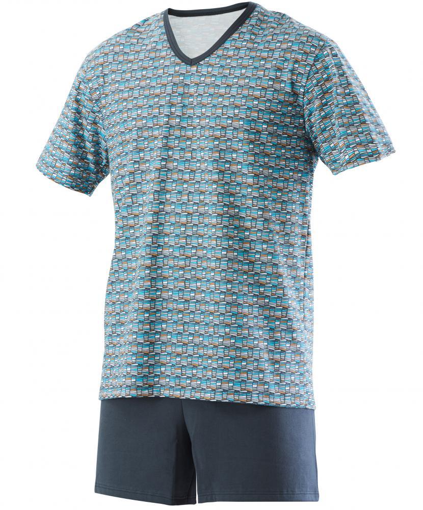 Pánské pyžamo Jakub - šedotyrkysový tisk