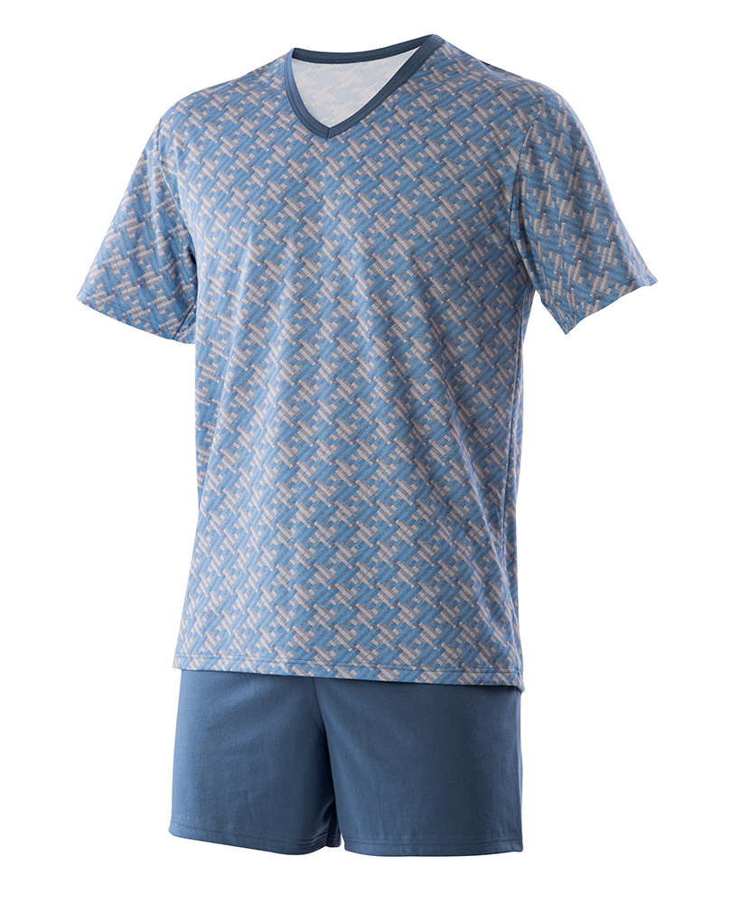 Pánské pyžamo Jakub - modrošedá mozaika