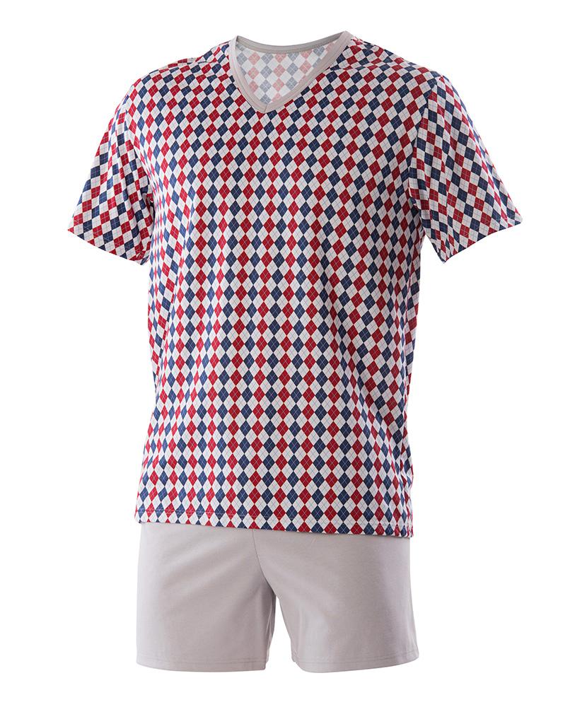 Pánské pyžamo Jakub - vínový kosočtverec