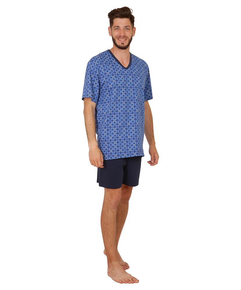 Pánské pyžamo Jakub - kostky na modré