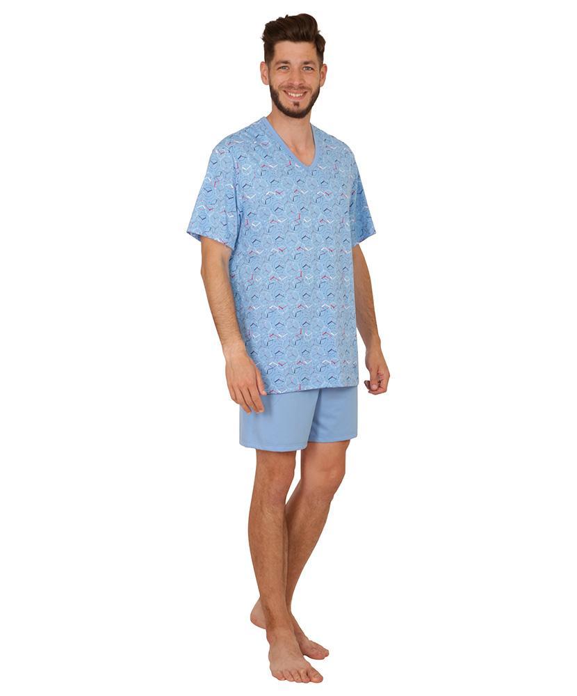 Pánské pyžamo Jakub - světle modrý budík