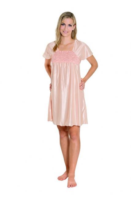 Dámská noční košile Rút K - meruňka-jednobarevná krajka