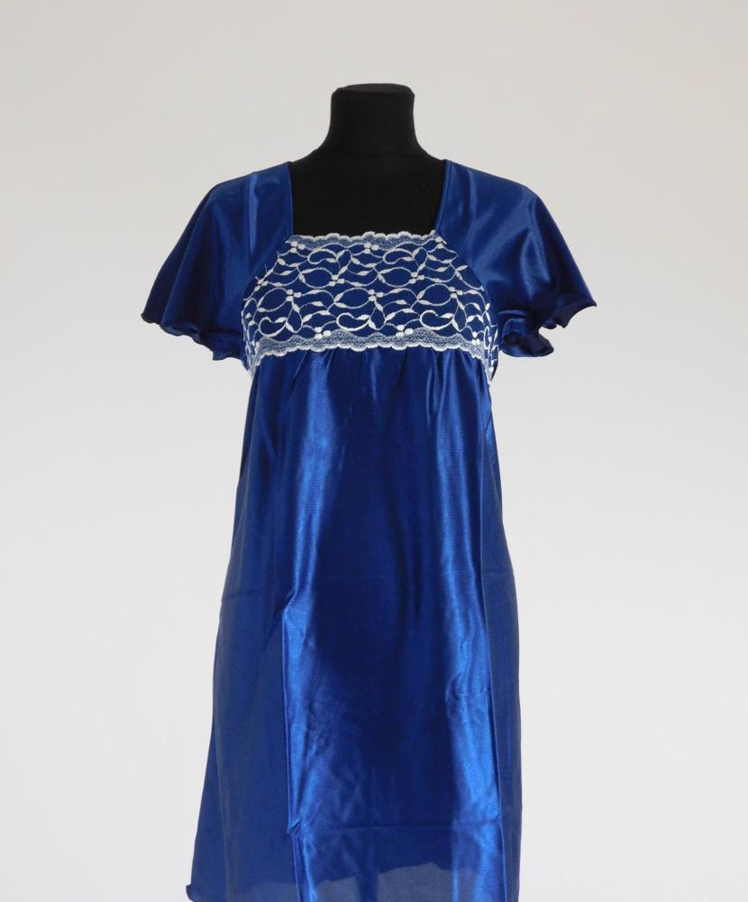 Dámská noční košile Rút K - tmavě modrá-dvoubarevná krajka