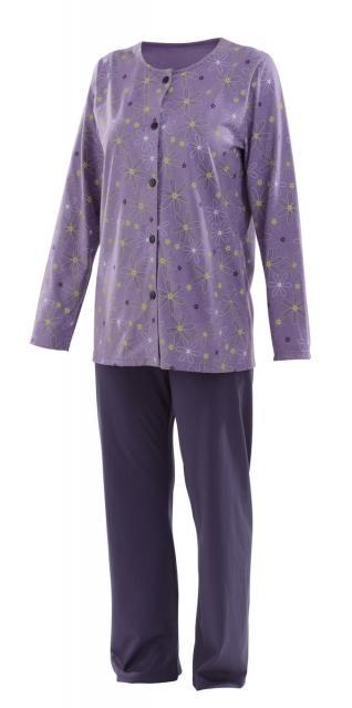Dámské pyžamo Agáta - fialovo-zelený tisk